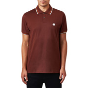 Pretty Green SS Tipped Pique Polo Burgundy